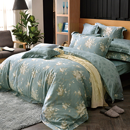 義大利La Belle《如夢香韻》加大天絲四件式防蹣抗菌吸濕排汗兩用被床包組