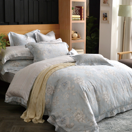 義大利La Belle《水芙花顏》雙人天絲四件式防蹣抗菌吸濕排汗兩用被床包組