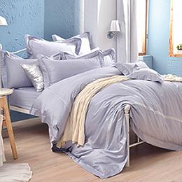 義大利La Belle《經典雙繡-銀河灰》加大長絨細棉刺繡被套床包組