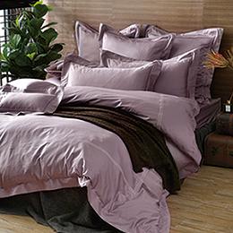 義大利La Belle《典雅風範-甜藕粉》特大長絨細棉刺繡被套床包組