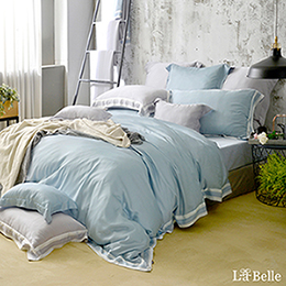 義大利La Belle《法式晶典》雙人天絲拼接防蹣抗菌吸濕排汗兩用被床包組