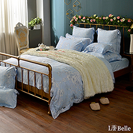 義大利La Belle《艾莎曼藍》特大天絲防蹣抗菌吸濕排汗兩用被床包組