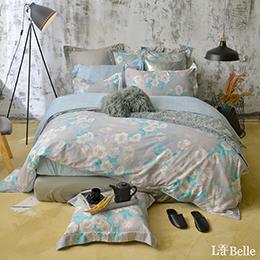 義大利La Belle《恬靜時光》加大純棉防蹣抗菌吸濕排汗兩用被床包組