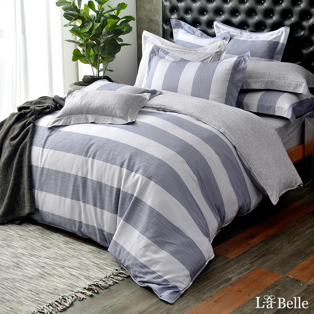 義大利La Belle《學院風範》雙人純棉防蹣抗菌吸濕排汗兩用被床包組