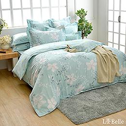 義大利La Belle《葉語柔情》雙人純棉防蹣抗菌吸濕排汗兩用被床包組
