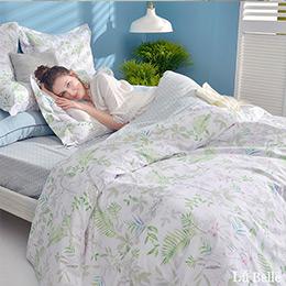 義大利La Belle《青青草原》雙人純棉防蹣抗菌吸濕排汗兩用被床包組