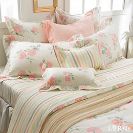 義大利La Belle《春曦天晴》加大純棉防蹣抗菌吸濕排汗兩用被床包組