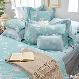 義大利La Belle《綠茵沁香》加大純棉防蹣抗菌吸濕排汗兩用被床包組