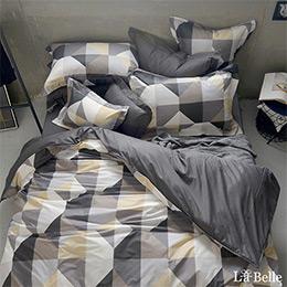 義大利La Belle《英倫慢格》特大純棉防蹣抗菌吸濕排汗兩用被床包組