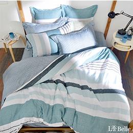 義大利La Belle《簡約休閒》特大純棉防蹣抗菌吸濕排汗兩用被床包組
