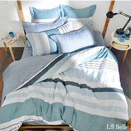義大利La Belle《簡約休閒》單人純棉防蹣抗菌吸濕排汗兩用被床包組