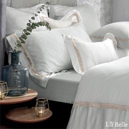 義大利La Belle《薩爾瓦-金》特大天絲蕾絲防蹣抗菌吸濕排汗兩用被床包組
