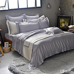 義大利La Belle《薩爾瓦-銀》加大天絲蕾絲防蹣抗菌吸濕排汗兩用被床包組
