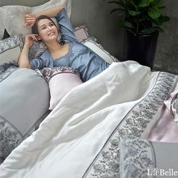 義大利La Belle《安德麗娜》加大天絲蕾絲防蹣抗菌吸濕排汗兩用被床包組