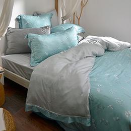 義大利La Belle《薇朵拉》特大天絲防蹣抗菌吸濕排汗兩用被床包組