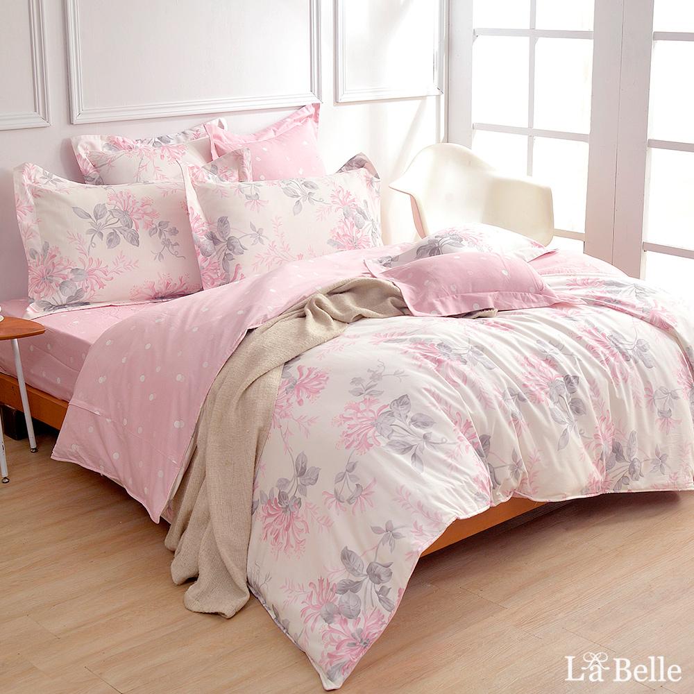 義大利La Belle《戀戀花雨》加大純棉防蹣抗菌吸濕排汗兩用被床包組