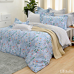 義大利La Belle《夏日悠藍》雙人純棉四件式防蹣抗菌吸濕排汗兩用被床包組