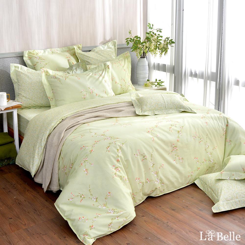 義大利La Belle《花語香頌》雙人純棉防蹣抗菌吸濕排汗兩用被床包組