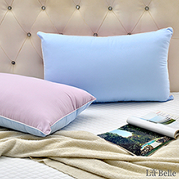 【買一送一】義大利La Belle《日本防蹣抗菌可水洗馬卡龍舒柔枕》甜心紫x夢幻藍