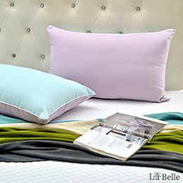 【買一送一】義大利La Belle《日本防蹣抗菌可水洗馬卡龍舒柔枕》薄荷綠x甜心紫